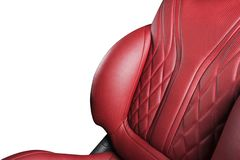 Red leather interior of the luxury modern car. Perforated red leather comfortable seats with stitching isolated on white backgroun. D. Modern car interior stock images