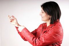 Red leather jacket Stock Photo