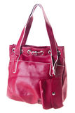 Red leather ladies handbag Royalty Free Stock Photo