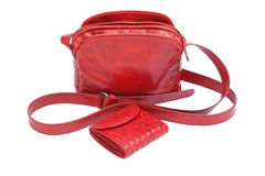 Red leather lady bag and purse Royalty Free Stock Photos