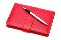 Red leather notebook Stock Photo