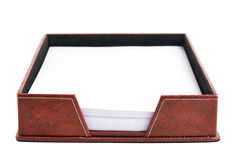 Red leather paper holder box Stock Photo