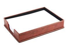 Red leather paper holder box Stock Images