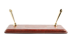 Red leather pen holder isolated Royalty Free Stock Photos