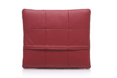 Red leather pillow Stock Photography