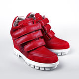 Red leather platform sneaker Stock Photos