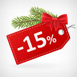 Red leather price christmas labels 15 percent sale off Royalty Free Stock Image