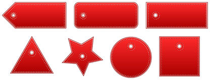 Red Leather Price Tags Set. Vector illustration Stock Image