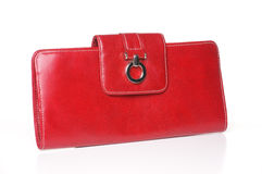 Red leather purse. Or clutch on white background with vector Royalty Free Stock Images