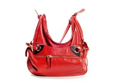 Red leather purse. Red leather woman purse, on a white background Stock Photography