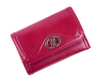 Red Leather Purse - Isolated on White. Red leather purse isolated on white background Royalty Free Stock Photo