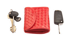 Red leather purse and keys Stock Image