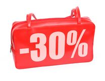 Red Leather Purse Sale Sign Stock Photo