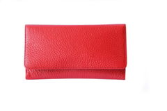 Red leather purse. Stylish on white Royalty Free Stock Images