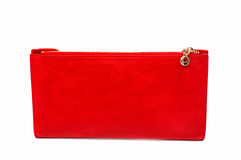 Red leather purse Royalty Free Stock Images