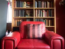 Red leather reading chair Royalty Free Stock Image