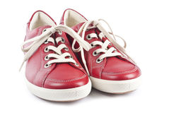 Red Leather Running Shoes Stock Image