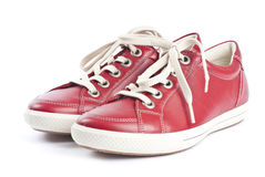 Red Leather Running Shoes Royalty Free Stock Images
