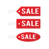 Red leather sale price tags set. Vector illustration. Stock Photo