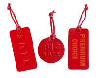 Red leather sale tag set, emboss words Royalty Free Stock Images