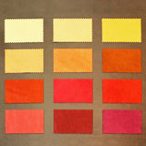Red leather samples Stock Photo