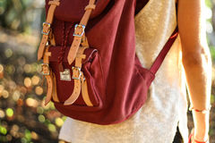 Red Leather Satchel Backpack Stock Image
