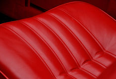 Red leather seats in retro car Stock Photography