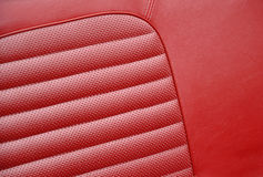 Red leather seats in retro car Stock Photos