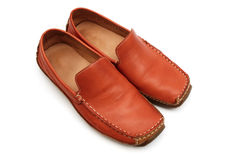 Red leather shoes Stock Photography