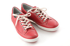 Red leather sneakers Stock Photography