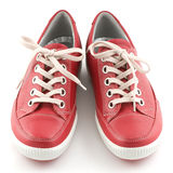 Red Leather Sneakers Stock Photos