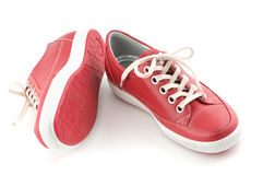 Red Leather Sneakers Stock Image