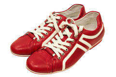 Red leather sneakers Royalty Free Stock Images