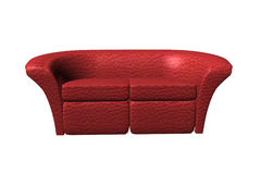 Red leather sofa Stock Photos