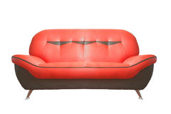 Red leather sofa. A red leather sofa isolated on a white background Stock Photography