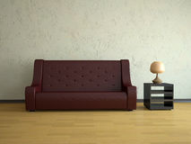 Red leather sofa Stock Images