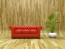 Red leather sofa Royalty Free Stock Photography