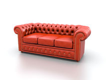 Red Leather Sofa. Royalty Free Stock Images
