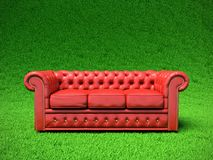 Red leather sofa. Stock Images