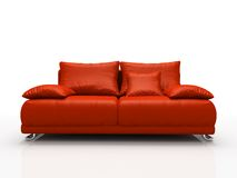 Red leather sofa stock illustration