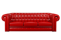 Red leather sofa 3d. Red leather sofa isolated over the white 3d Royalty Free Stock Photography