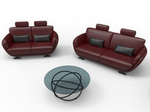 Red leather sofa and armchair. 3D render illustration a red leather sofa, armchair and a glass round table. The composition is  on a white background with Royalty Free Stock Photo
