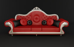 Red leather sofa with cushions Stock Photo
