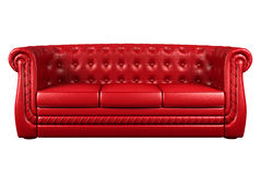Red leather sofa isolated over white 3d Stock Photo