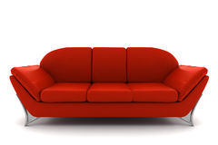 Red leather sofa isolated on white background Royalty Free Stock Photography