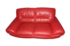 Red leather sofa.Isolated. Royalty Free Stock Image