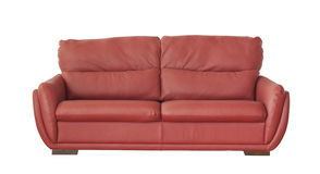 Red leather sofa isolated on white Royalty Free Stock Image