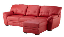 Red leather sofa Royalty Free Stock Photos
