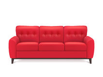 Red Leather Sofa Realistic Illustration Stock Photos