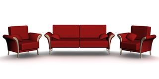 Red leather sofa and two armchairs. An interior. Stock Image